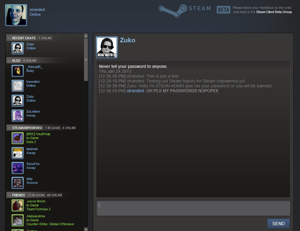 Steam Community Chat Room