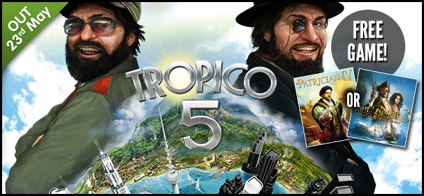 Tropico 5 at 10% off on GMG, Steam redeemable
