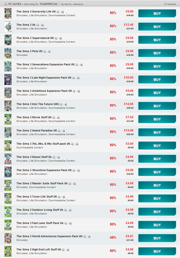 The Sims 3 Sale on GamersGate