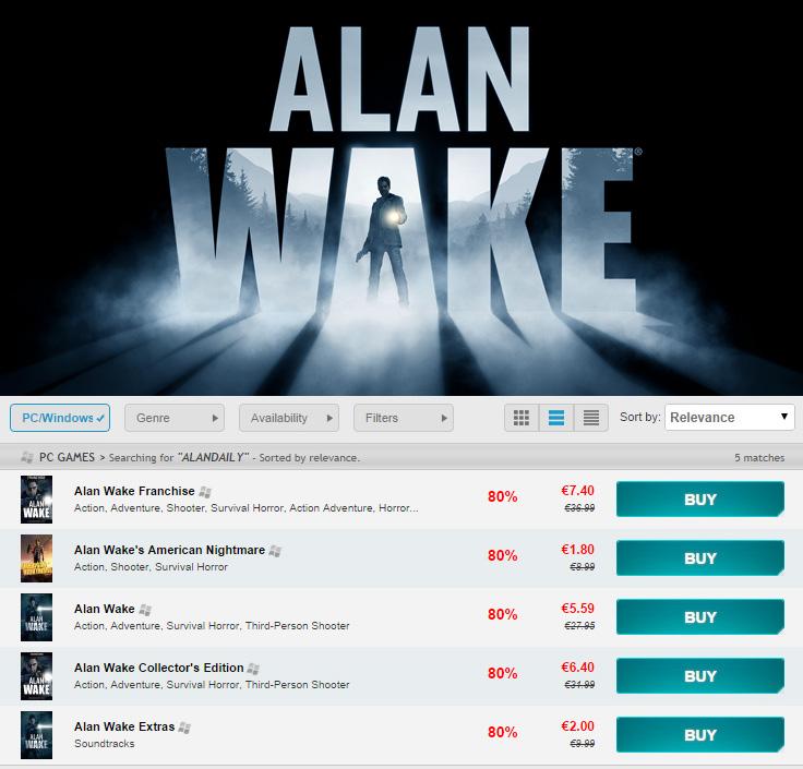 Alan Wake Sale on GG