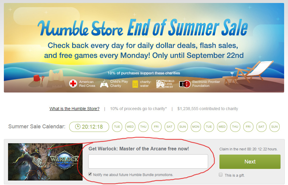 Free game from the Humble Store