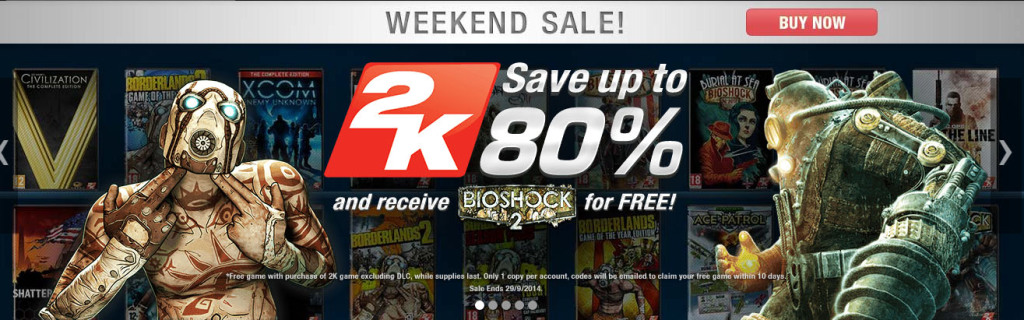 Weekend Sale on GameFly, 2K Games 80 off