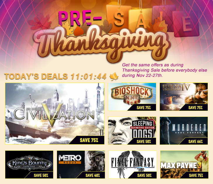 Pre-Thanks Giving Sale on GamersGate!