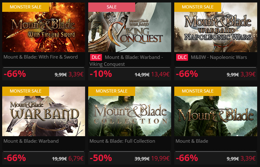Mount And Blade Sale