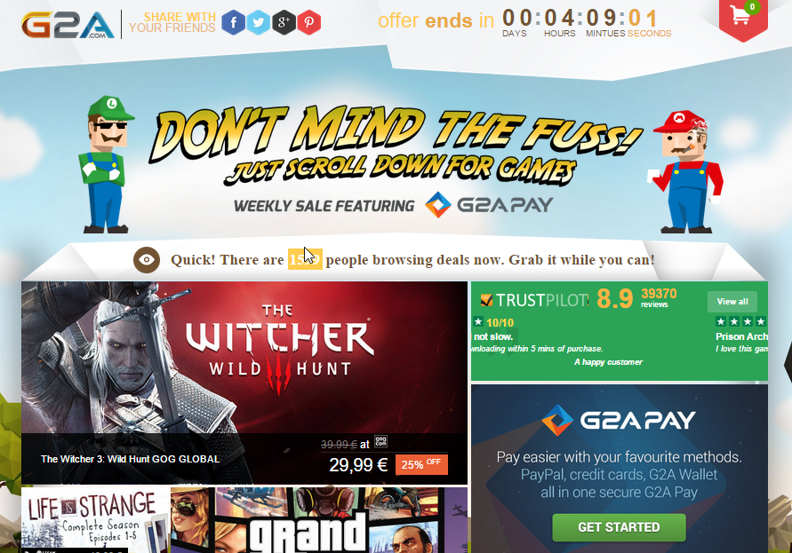 G2A Weekly Sale Witcher 3 GTA 5