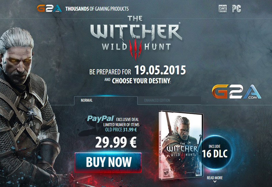 The Witcher 3 Cheap Price GOG Code Online
