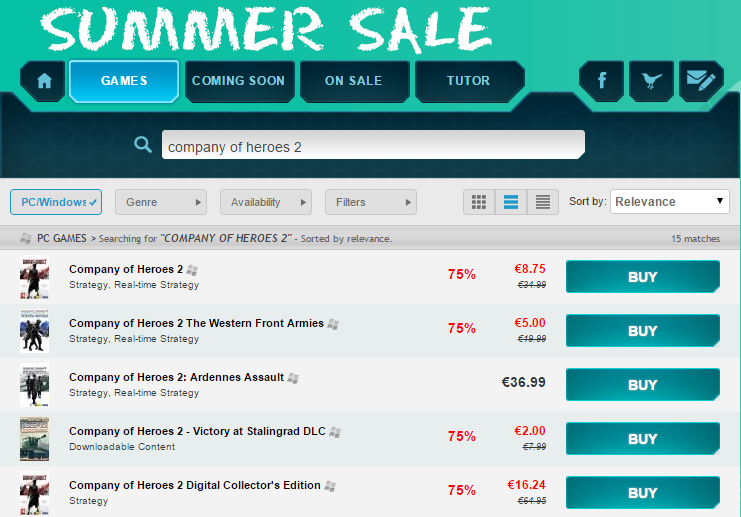 COH Series Sale GamersGate