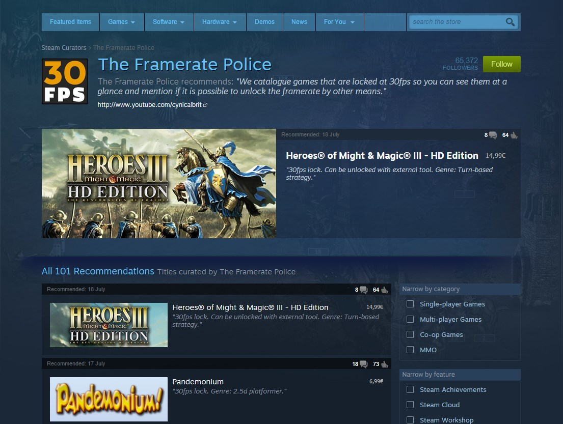 Follow The Framerate Police on Steam!   Steam Unpowered