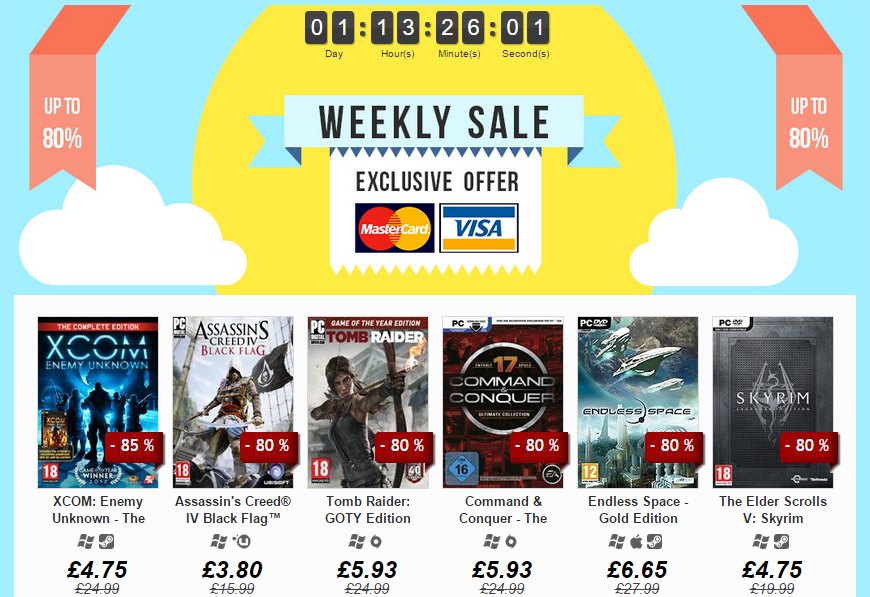Weekly Sale up on DLGamer, up to 80 off!