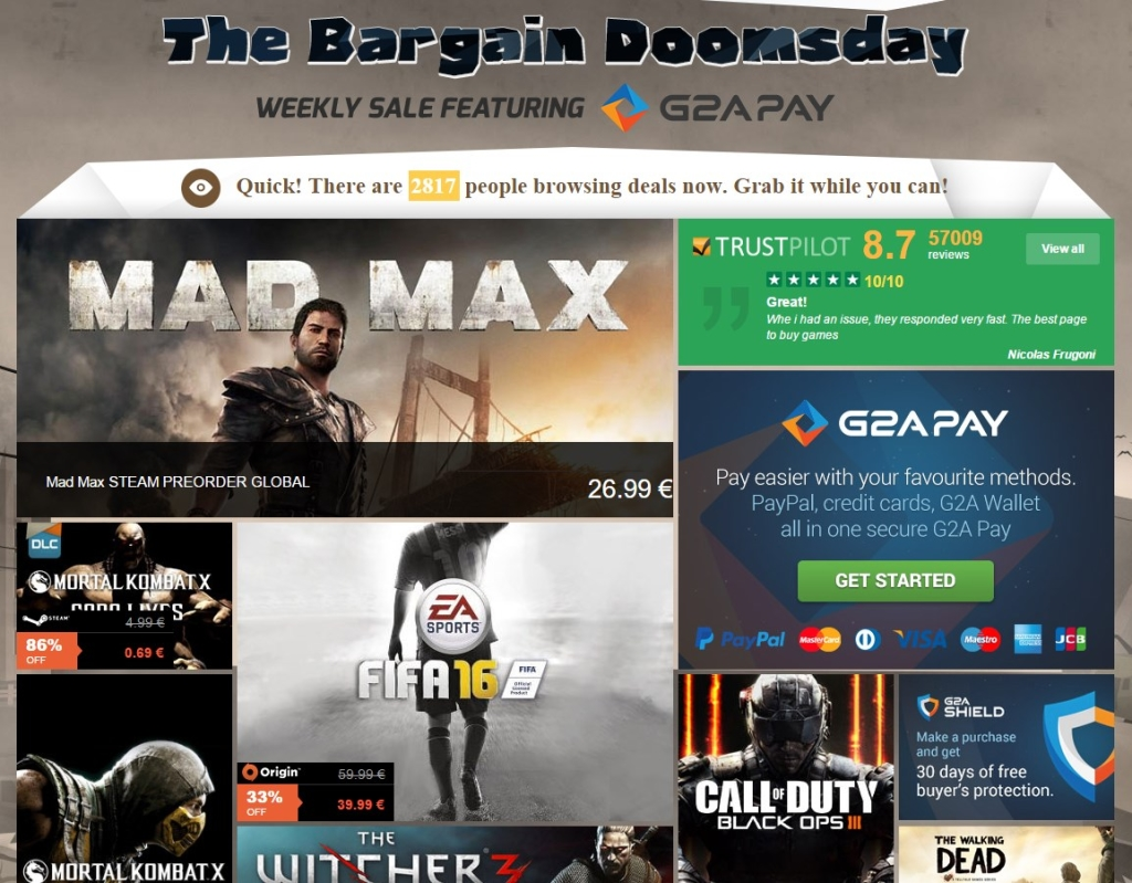 G2A Weekly Sale The Bargain Doomsday