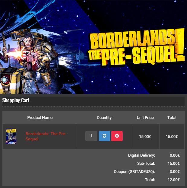 GameBillet BORDERLANDS THE PRE-SEQUEL 12 EUR
