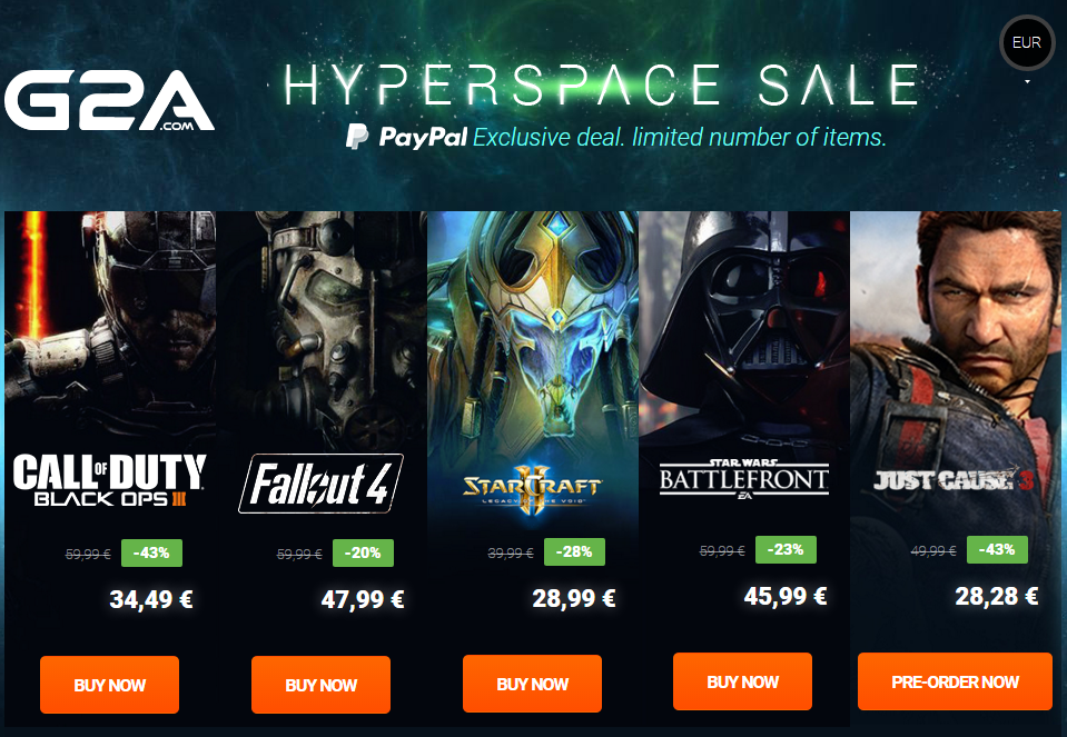 HyperSpace Sale G2A PayPal