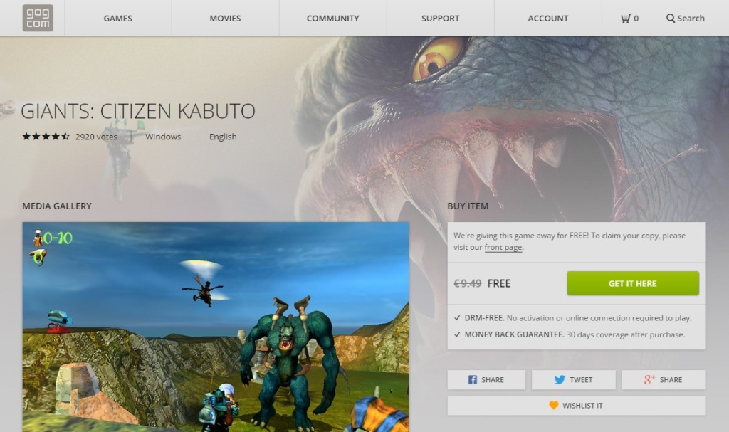 Giants Citizen Kabuto FREE on GOG
