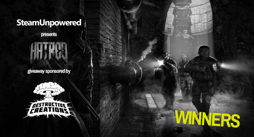 Hatred Giveaway Winners