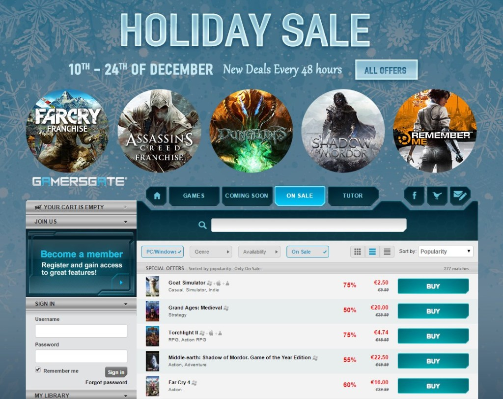 Holiday Sale GamersGate