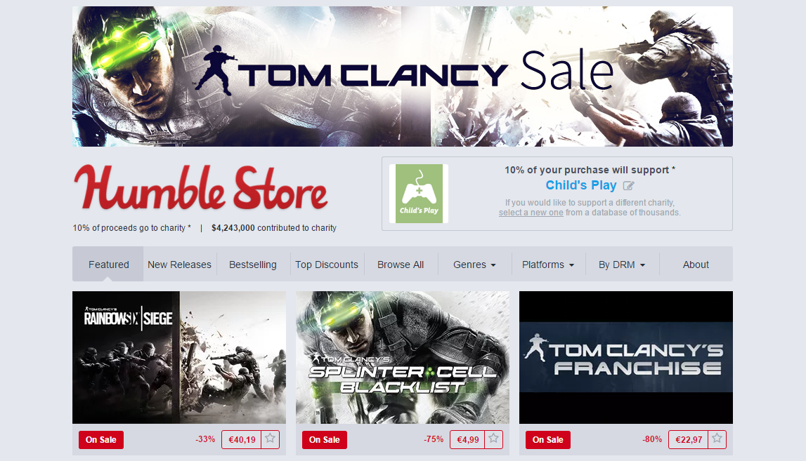 Tom Clancy Sale on Humble Store