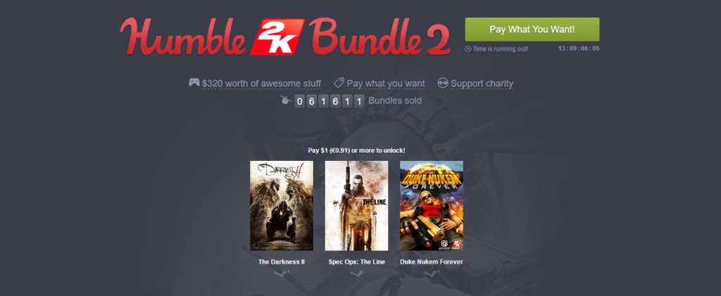 Humble 2K Bundle 2 - The Darkness II, Spec Ops The Line, Duke Nukem Forever