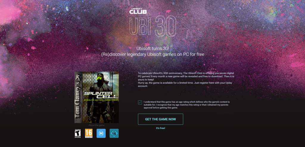 Ubisoft 30 Years Free Game