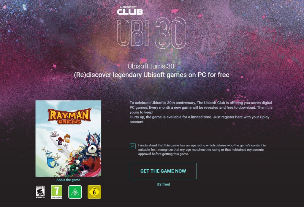 Rayman Origins now FREE on UPlay