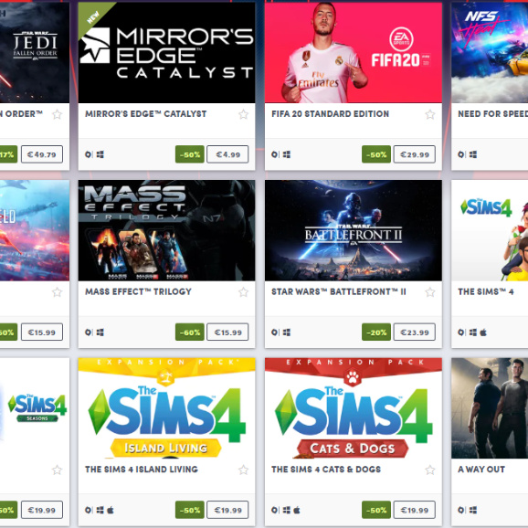 EA Holiday Sale on Humble Store now live!