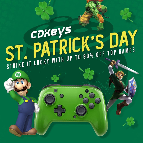 "<img src=""https://s.w.org/images/core/emoji/13.0.1/72x72/1f340.png"" alt=""🍀"" class=""wp-smiley"" style=""height: 1em; max-height: 1em;"" />St Patrick's Day sale on CDKeys.com! #stayhome"