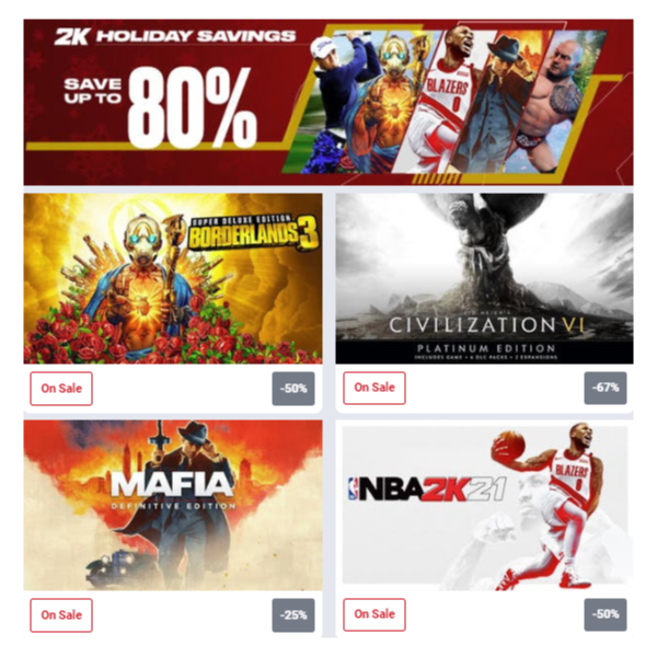 Holiday Sale now live on Humble Store, featuring all 2K Games up to 80% off!